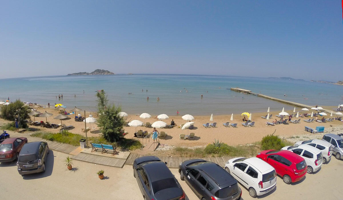 View above Kostas on the beach