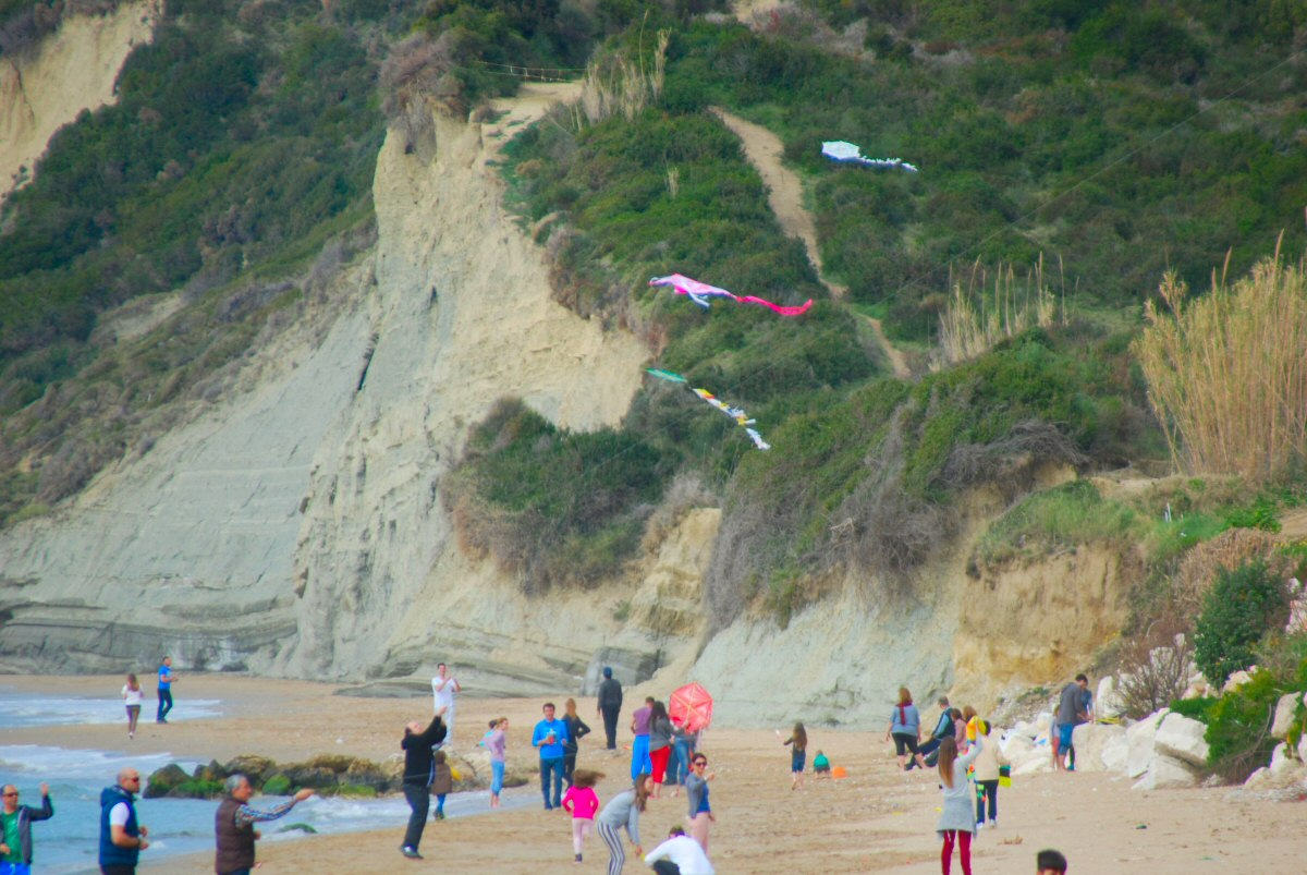 Flying Kites at the beach on Clean Monday
