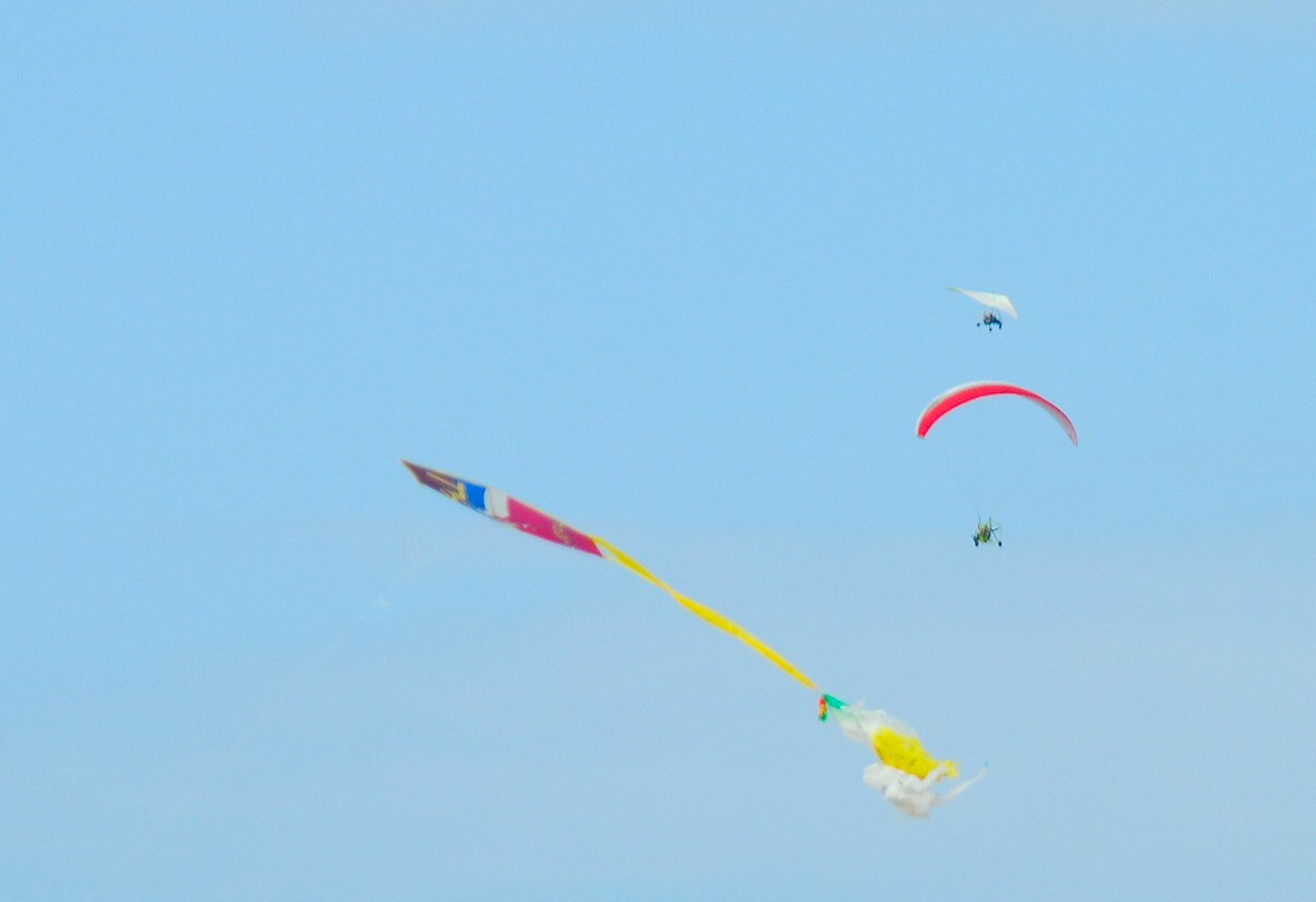 Kite and other flying objects on the sky of Arillas