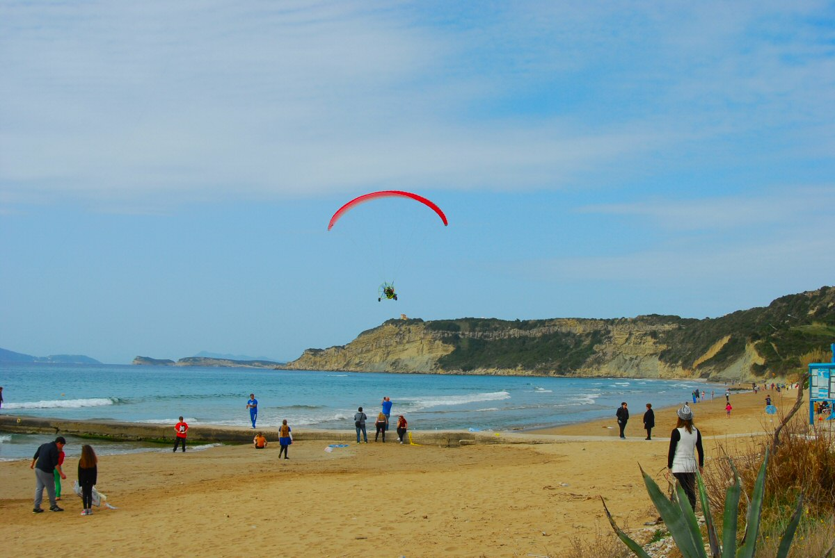 Paramotor over Arillas beach