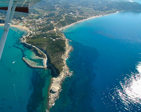 Aerial view of cape Kefali between Arillas and San Stefanos